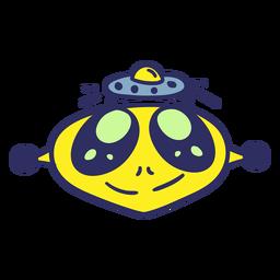 Cabeça de alienígena feliz colorido UFO curso