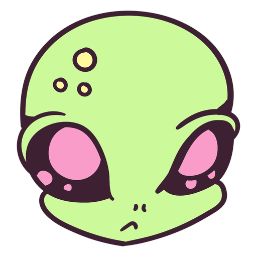Alien's head indifferent colorful stroke
