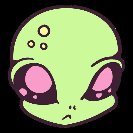 Cabeza de alienígena indiferente trazo colorido