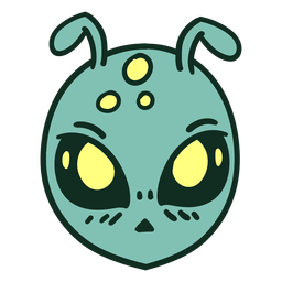 Alien's head round colorful stroke