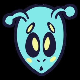 Alien's head scared colorful stroke