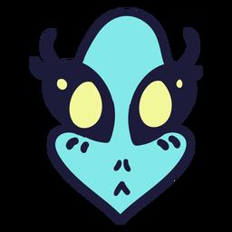 La cabeza de Alien aturdió grandes ojos coloridos