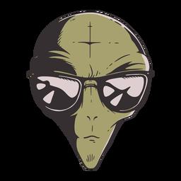 Cabeça de alienígena óculos de sol colorido