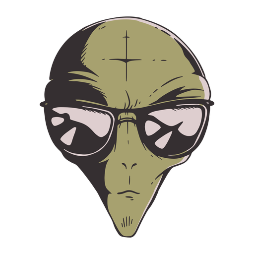 Alien's head sun glasses colorful Transparent PNG
