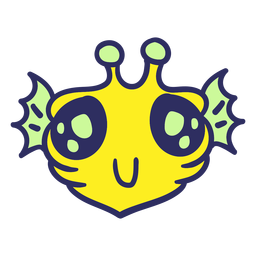 Alien's head yellow fish stroke