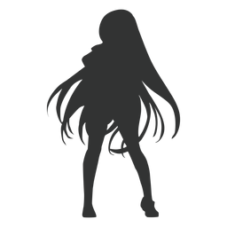 Anime girl long hair silhouette
