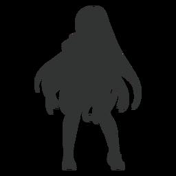 Silhueta de cabelo comprido de garota anime
