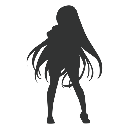 Anime Madchen Lange Haare Silhouette Transparenter Png Und Svg Vektor