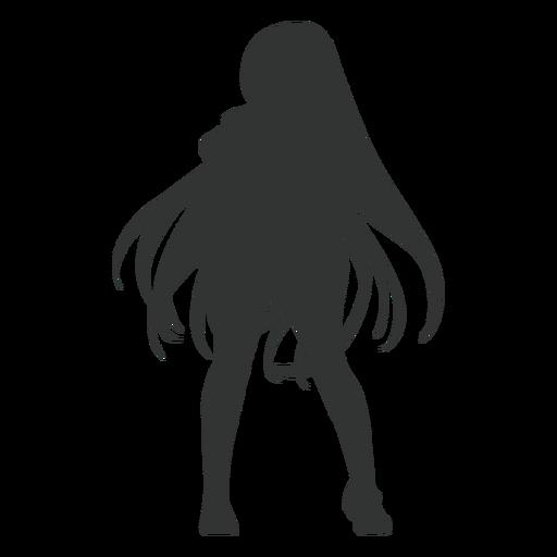 Silueta de pelo largo de chica anime