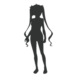 Anime girl long strands silhouette