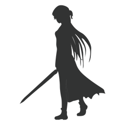 Anime girl sword cloak silhouette