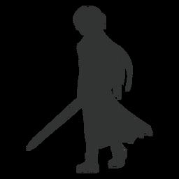 Silueta de capa de espada de chica anime