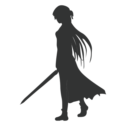 Anime girl sword cloak silhouette Transparent PNG