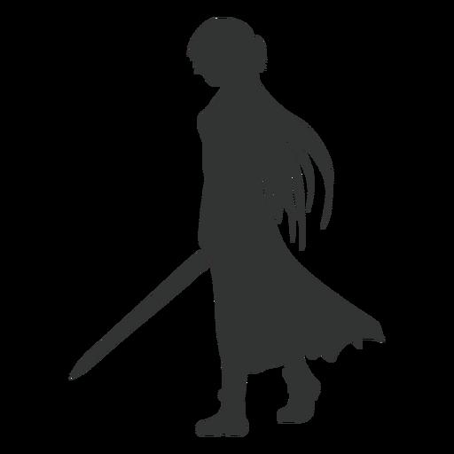 Anime girl sword cloak silhouette