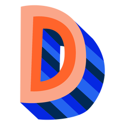 Colorful 3d letter d