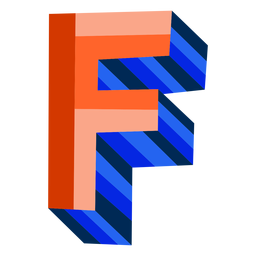 Colorful 3d letter f