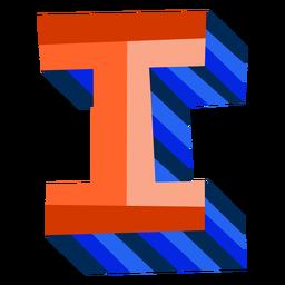Colorido 3d letra i