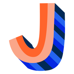 Colorful 3d letter j