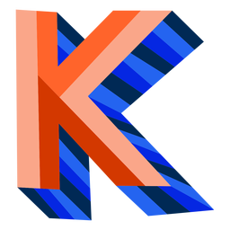 Colorful 3d letter k