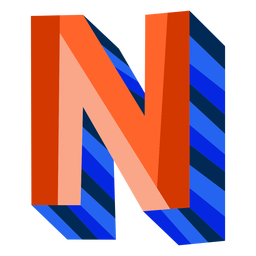 Colorido 3d letra n