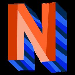 Letra 3d colorida n