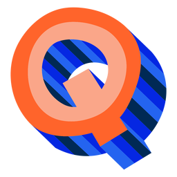 Colorful 3d letter q