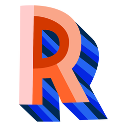 Colorful 3d letter r
