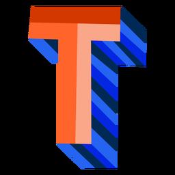 Colorido 3d letra t