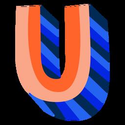 Colorido 3d letra u