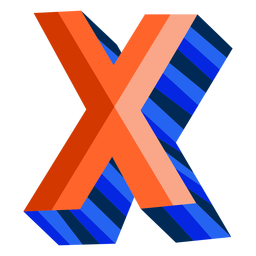 Colorful 3d letter x