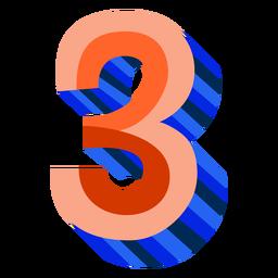 Número 3d colorido 3