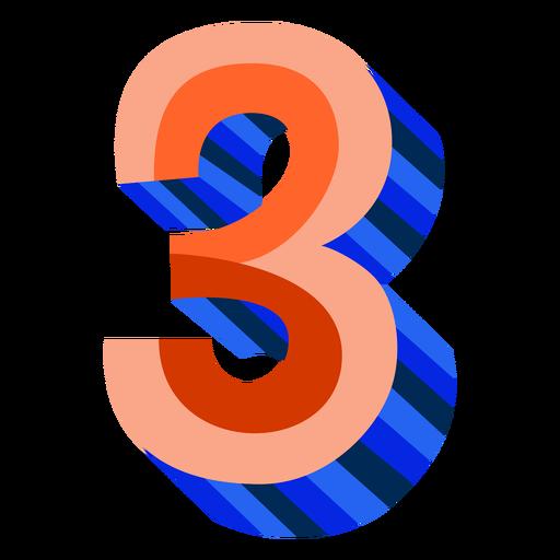 Colorido 3d número 3 - Descargar PNG/SVG transparente