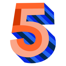 Colorful 3d number 5