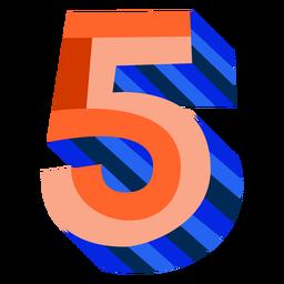 Número 3d colorido 5