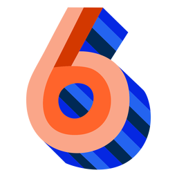 Colorful 3d number 6