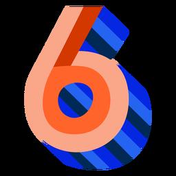 Número 3d colorido 6