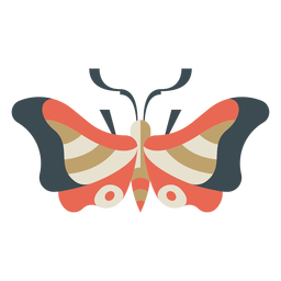 Mariposa colorida geométrica plana