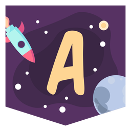 Colorful space letter a flat