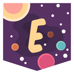 Colorful space letter e flat