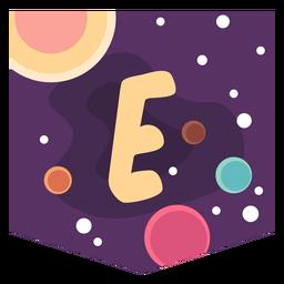 Letra de espacio colorido e plano