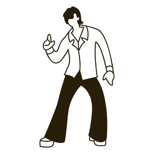 Disco dance moves 70s stroke Transparent PNG