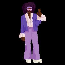 Personagem de disco roupa roxa dos anos 70