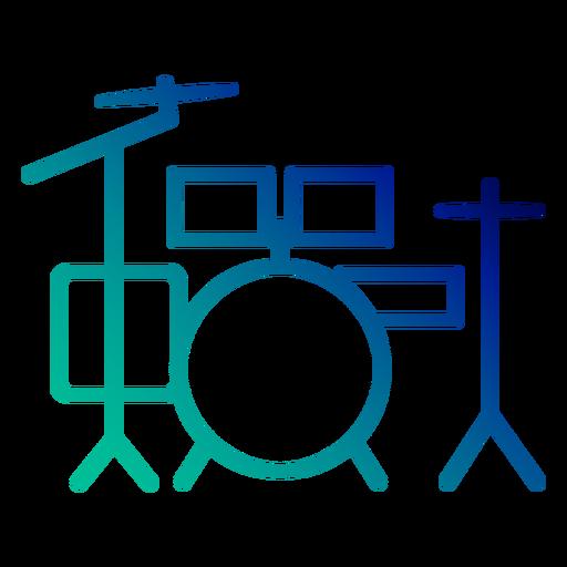 Drum set gradient stroke Transparent PNG
