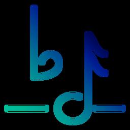 Trazo de gradiente de símbolo de nota plana