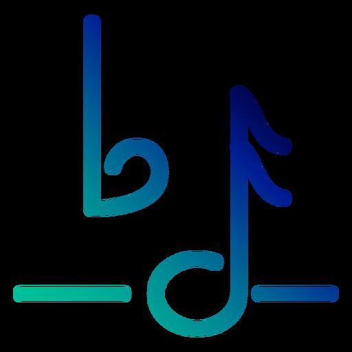 Traço gradiente de símbolo de nota plana