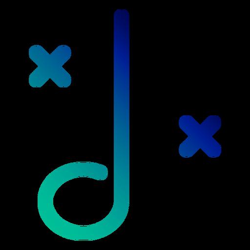 Observe o traço de gradiente de símbolo de duas pontas