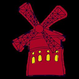 Ilustración de molino de viento de París