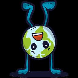 Ilustración de globo de tierra al revés