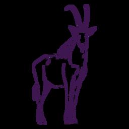 Animal selvagem antílope desenhado à mão
