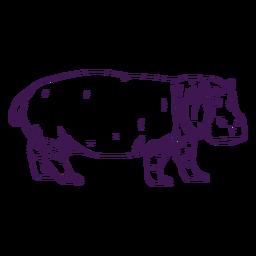 Animal selvagem hipopótamo desenhado à mão